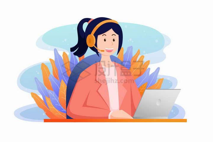 卡通女孩戴着耳麦坐在电脑跟前客服电话png图片免抠矢量素材
