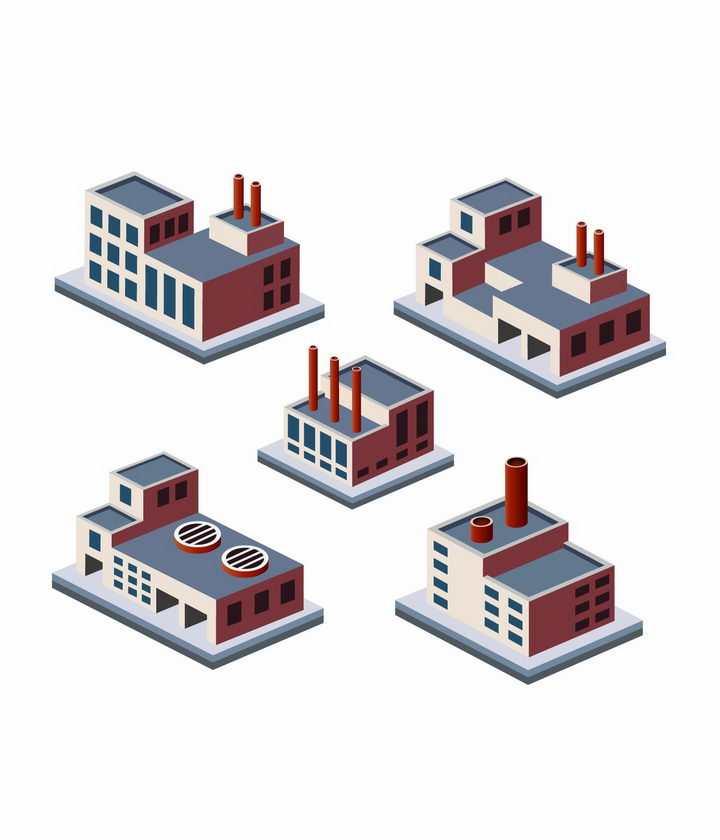 5款2.5D立体风格工厂厂房建筑物png图片免抠矢量素材
