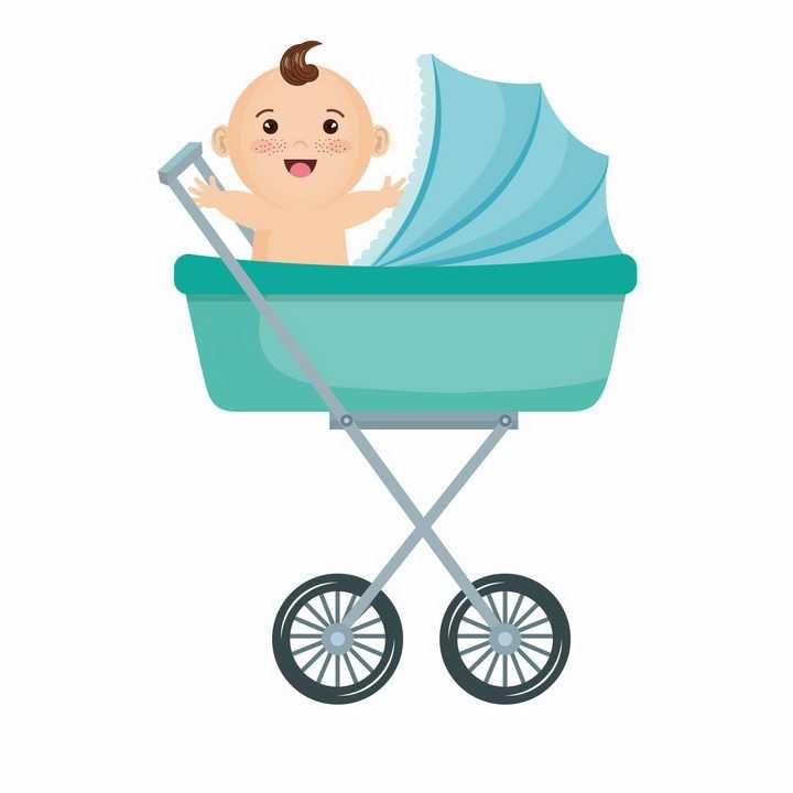 卡通娃娃在蓝色婴儿车中求抱抱png图片免抠素材