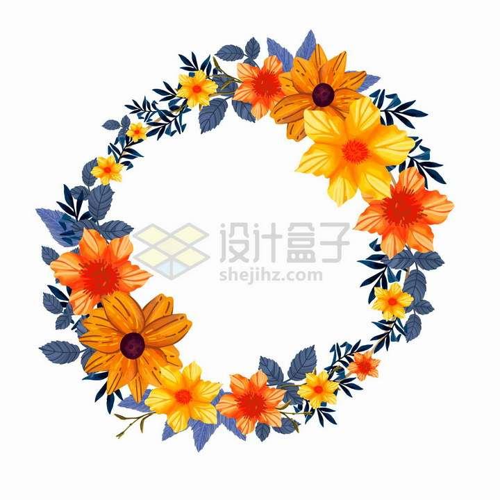 橙色鲜花和树叶组成的婚礼花环标题框装饰png图片免抠矢量素材