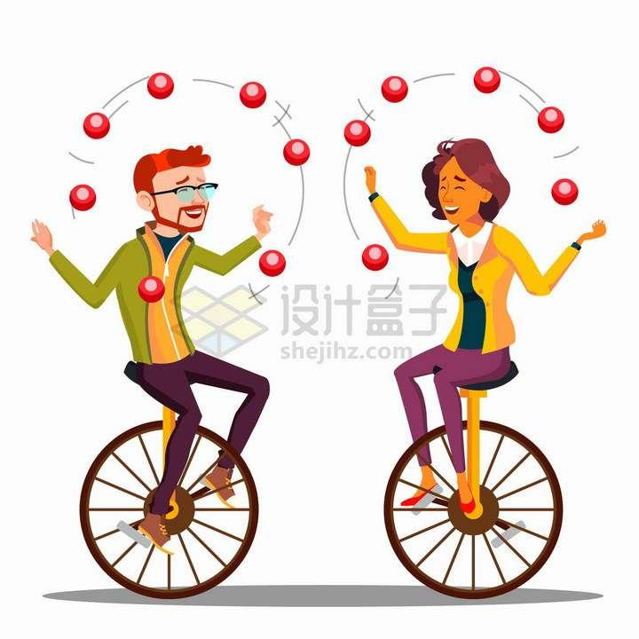 骑着独轮自行车抛苹果的杂技表演者png图片免抠矢量素材