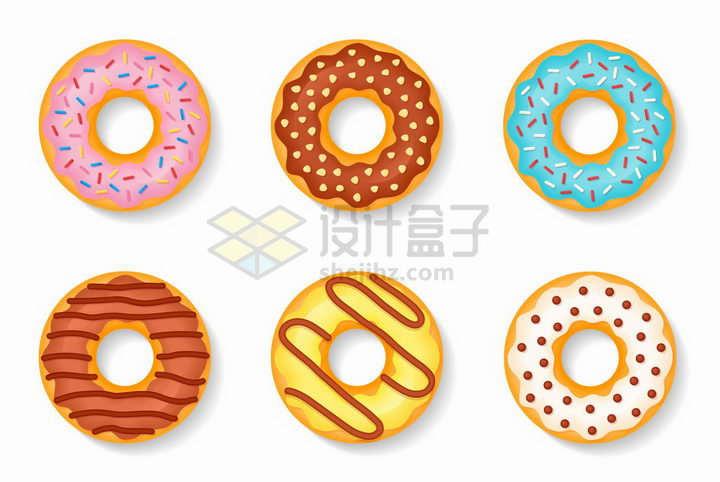 6个甜甜圈美味早餐美食png图片免抠矢量素材