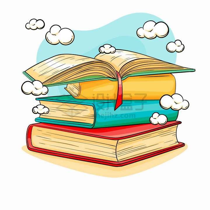 放在一起的书本世界读书日彩绘插画png图片免抠矢量素材
