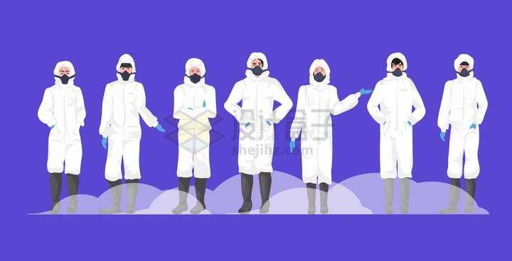 一群身穿防护服的医疗人员医生png图片免抠矢量素材