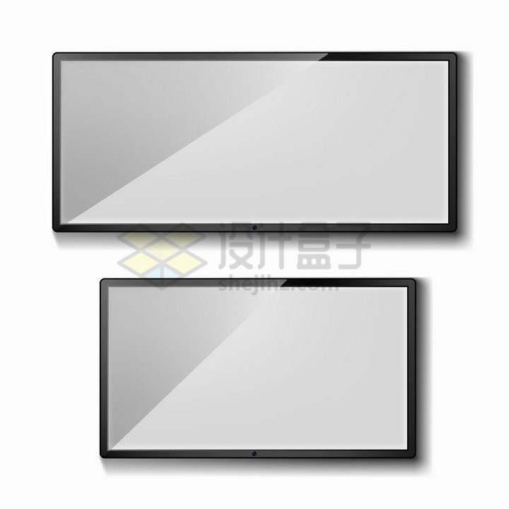 两款黑色的液晶电视框LED显示器边框png图片免抠矢量素材