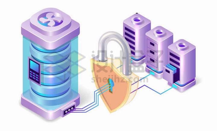 3D风格通过密码加密的服务器象征了网络数据安全png图片免抠矢量素材