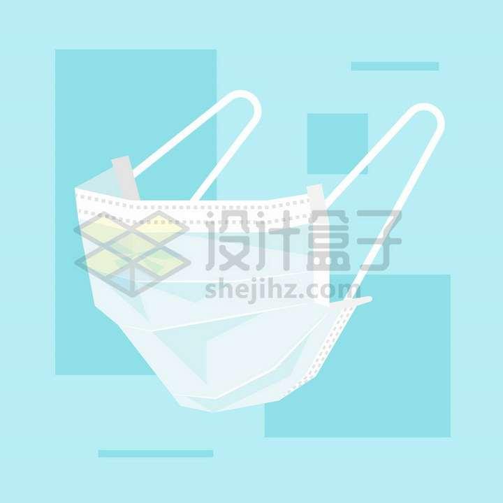 淡蓝色的一次性医用口罩侧面图png图片免抠矢量素材