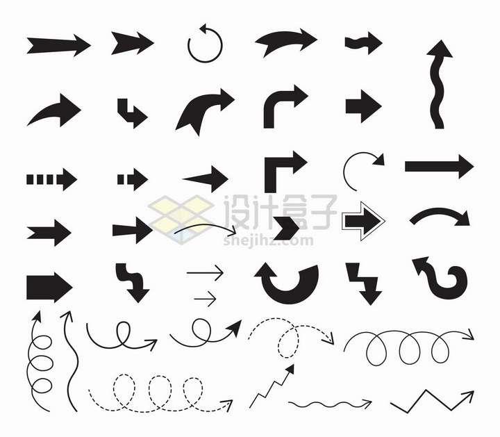 各种黑色线条箭头虚线箭头折线箭头等png图片免抠矢量素材