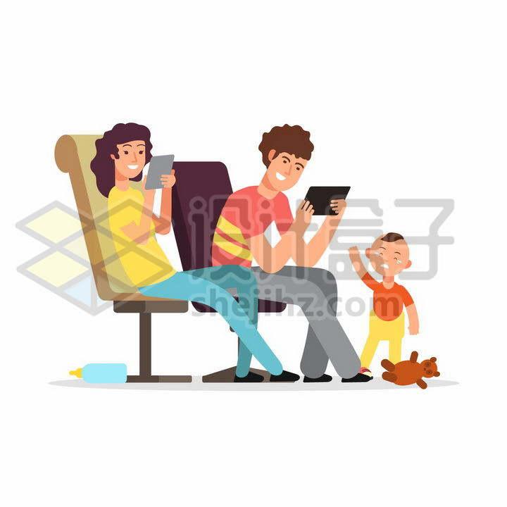 孩子在哭泣但是年轻的爸爸妈妈却只顾着玩手机平板png图片免抠矢量素材