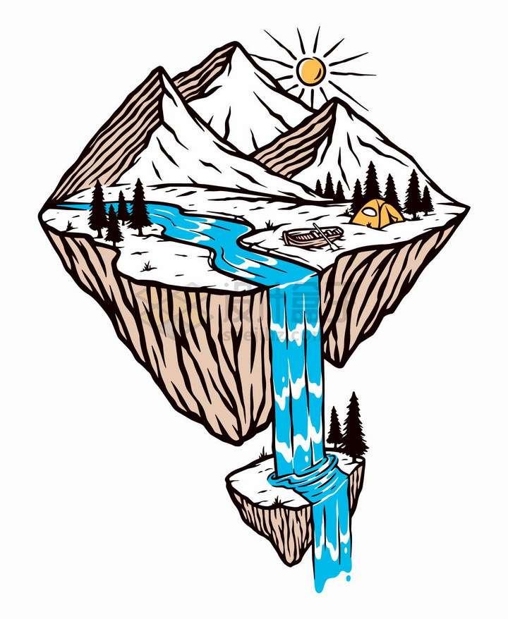 悬空岛高山河流与瀑布手绘插画png图片免抠矢量素材
