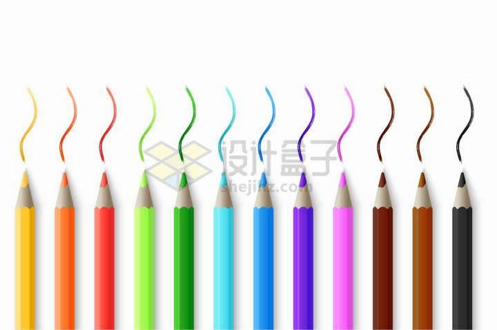 12种颜色的彩色铅笔画出的线条png图片免抠矢量素材