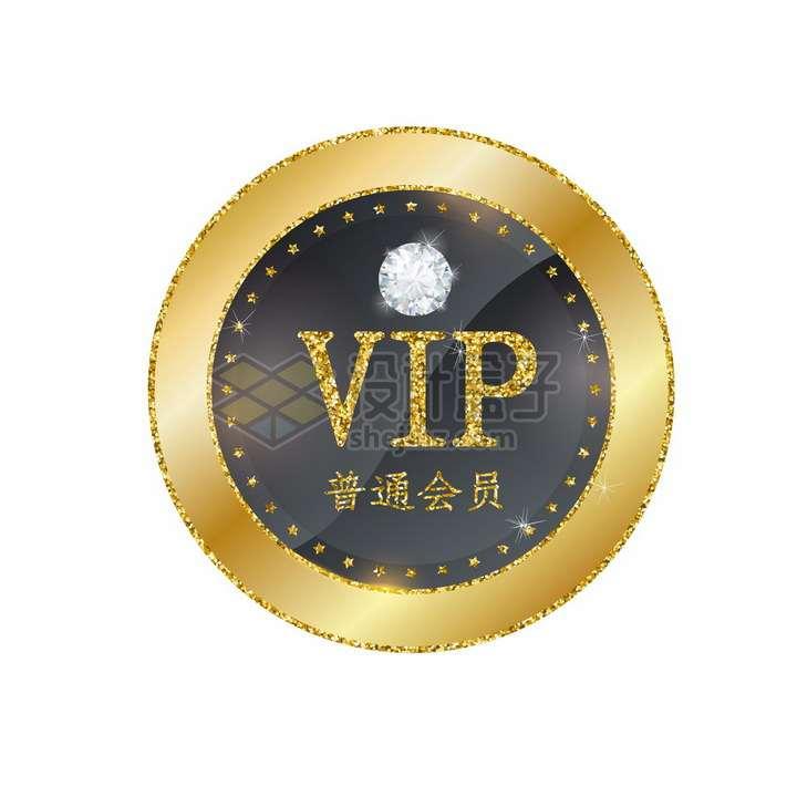 镶钻的VIP普通会员勋章标志png图片免抠矢量素材