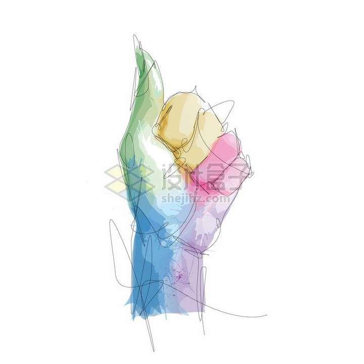 抽象线条彩绘风格竖起大拇指的手png图片素材