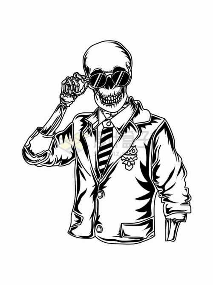 戴着墨镜穿着夹克的骷髅线条插画png图片免抠矢量素材