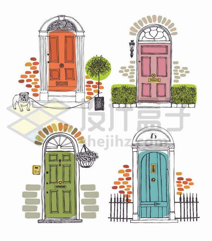 4款手绘线条上色的门框大门png图片免抠矢量素材