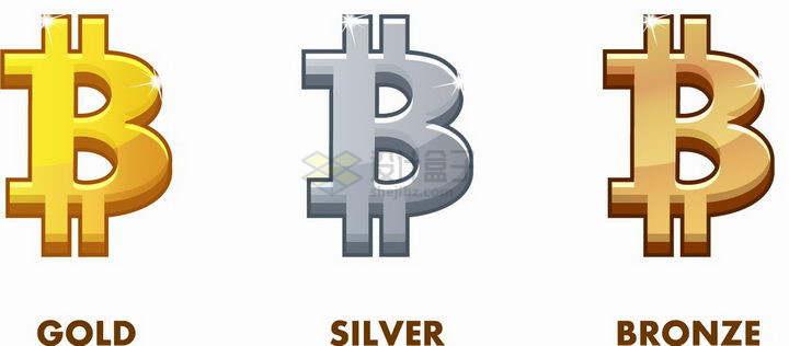 金色银色和铜色的比特币虚拟货币符号png图片免抠矢量素材