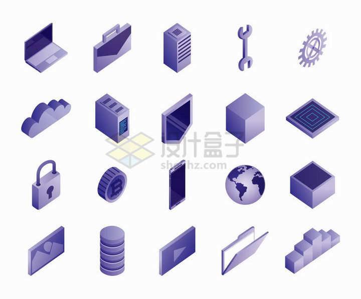 20款2.5D风格紫色笔记本电脑等IT设备png图片免抠矢量素材