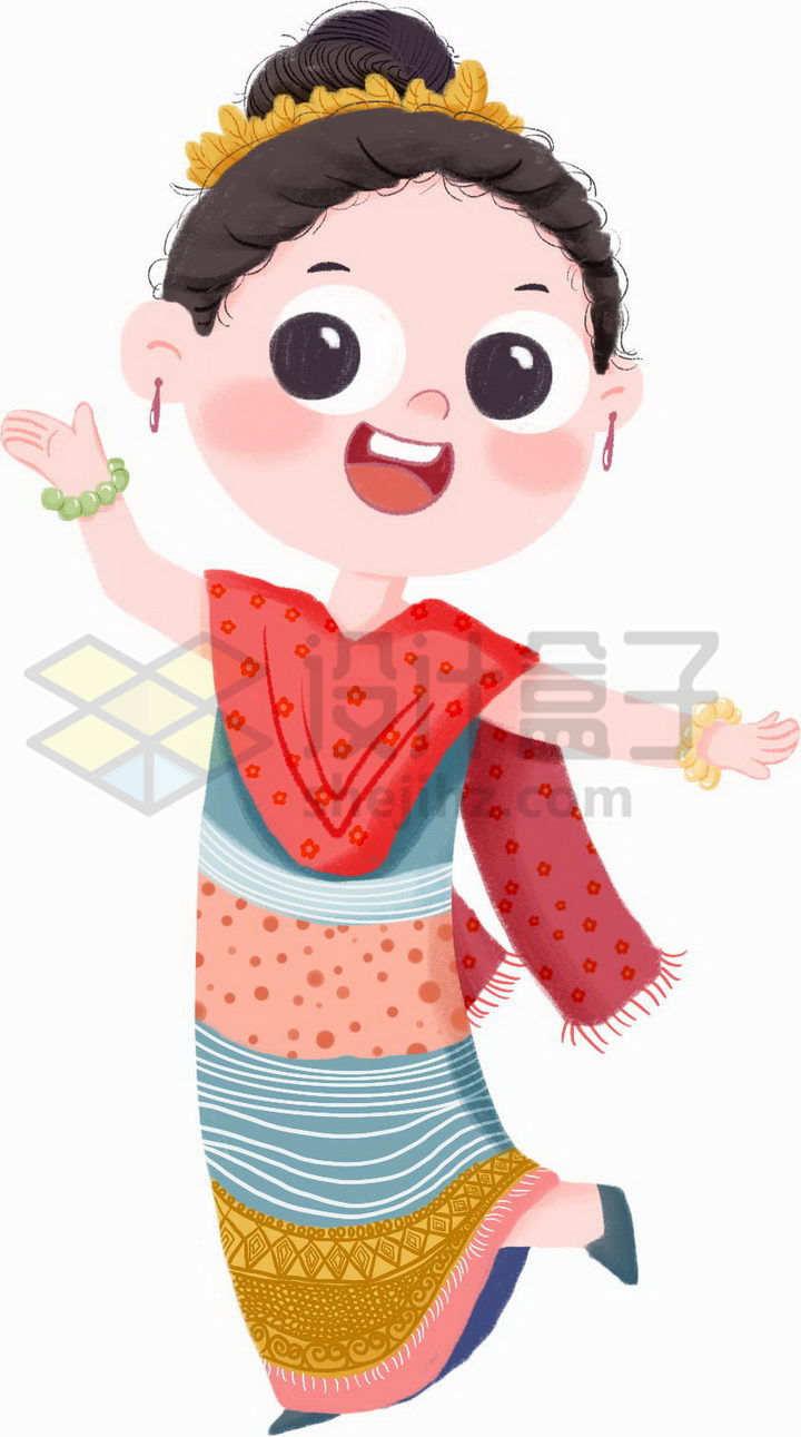 跳舞的卡通傣族少女传统服饰少数民族png图片免抠素材