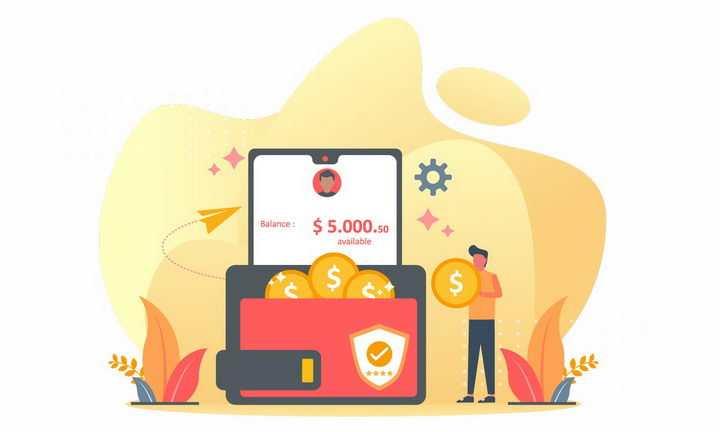 扁平插画钱包和拿着金币的商务人士象征了移动支付png图片免抠矢量素材