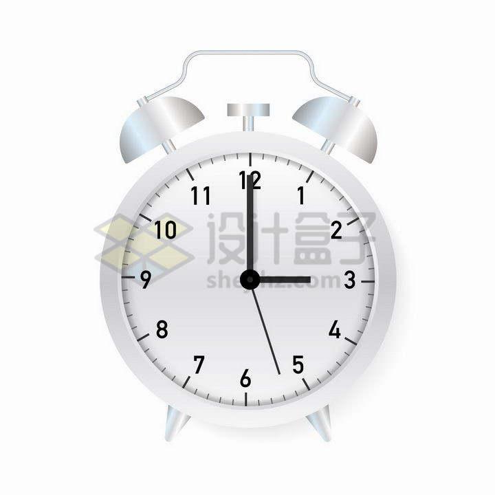 一款银白色的闹钟时钟png图片免抠矢量素材