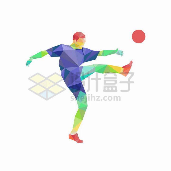 彩色多边形组成的足球运动员正在踢球png图片免抠矢量素材