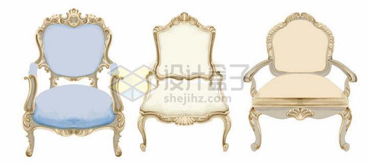 3款华丽的复古椅子png图片免抠矢量素材