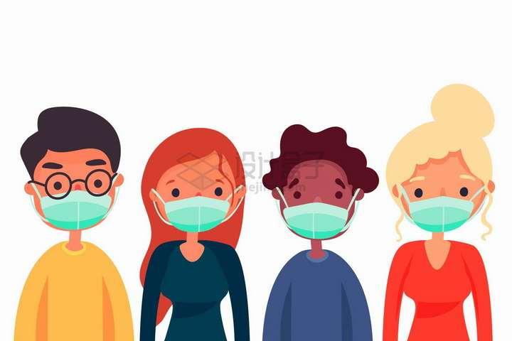 4个戴着一次性医用口罩的卡通年轻人png图片免抠矢量素材