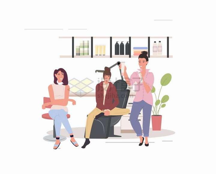 理发店里推销产品的理发师扁平插画png图片免抠矢量素材