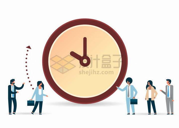 扁平插画商务人士在时钟面前交谈象征了时间观念在商业服务中的作用png图片免抠矢量素材