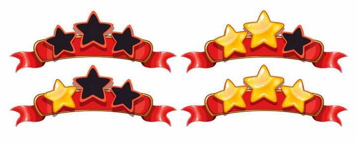 红色的从0星到三星卡通游戏评分打星UI设计png图片免抠矢量素材