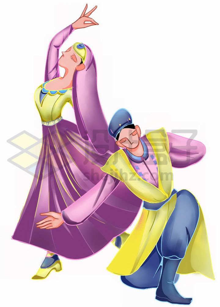 插画风格跳舞的维吾尔族少女少年传统服饰少数民族png图片免抠素材