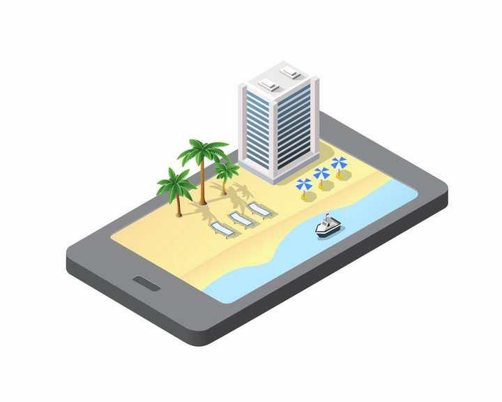 手机上的2.5D立体沙滩和城市png图片免抠矢量素材