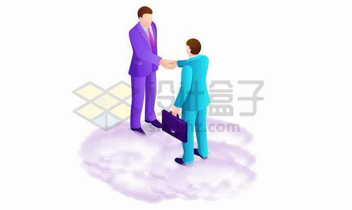 紫色云端的两个商务人士握手合作png图片免抠矢量素材