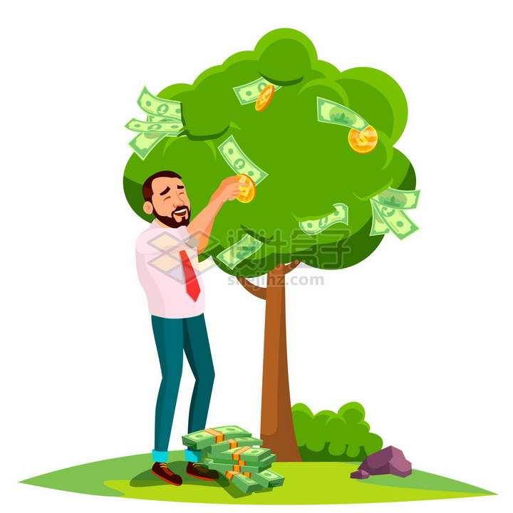卡通商务人士正在采摘摇钱树上的金币和美元png图片素材