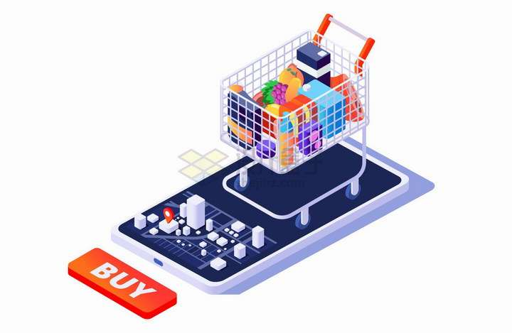 2.5D风格手机上的购物车象征了网络购物手机购物png图片免抠矢量素材