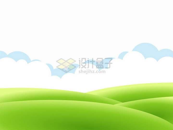 青青大草原和白云风景图png图片免抠矢量素材