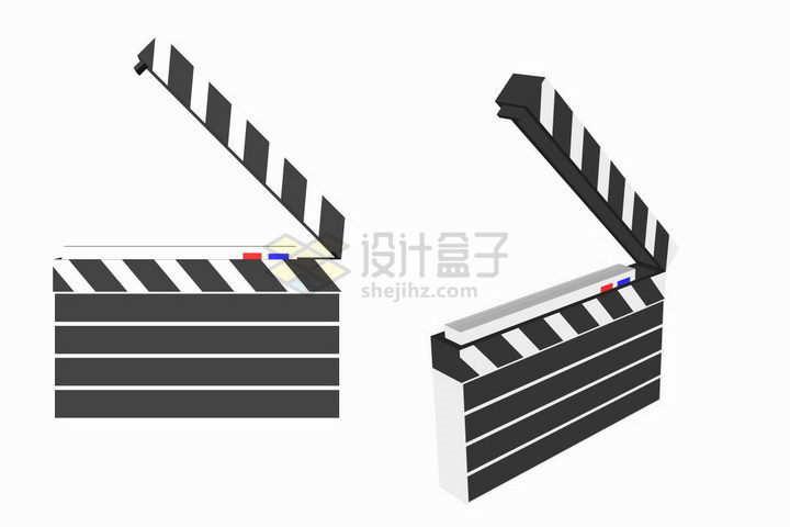2款立体风格的拍电影道具场记板png图片免抠矢量素材