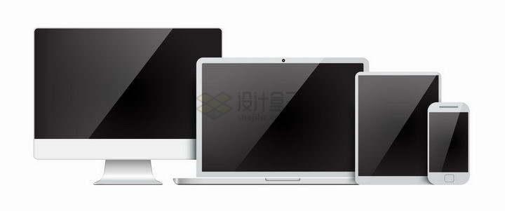 黑色镜面屏幕的电脑显示器笔记本电脑平板和手机排列在一起png图片免抠矢量素材
