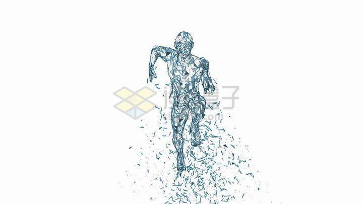 蓝色碎片组成的正在朝你跑过来的跑步运动员png图片免抠矢量素材