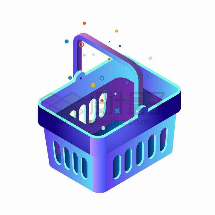 2.5D风格蓝紫色的超市购物篮png图片免抠矢量素材