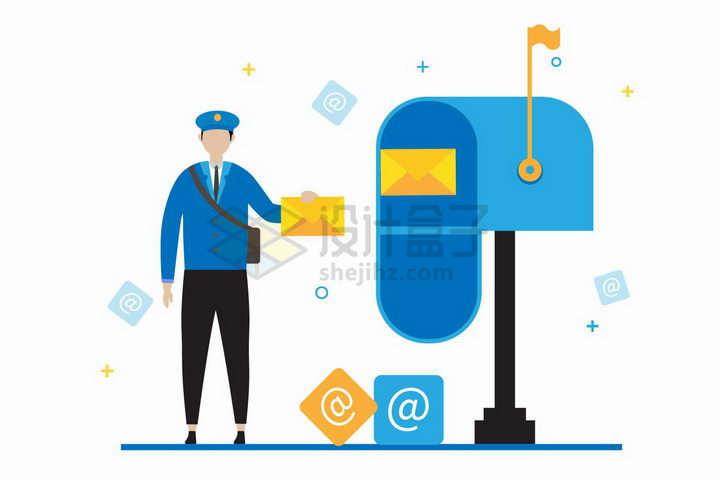 邮差正在向邮箱中投递邮件象征了电子邮件扁平插画png图片免抠矢量素材