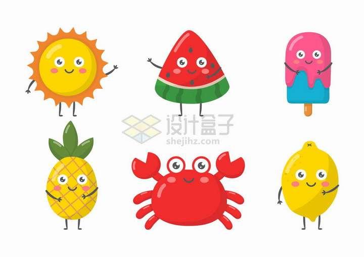 卡通太阳西瓜冰棒菠萝螃蟹和柠檬png图片免抠矢量素材