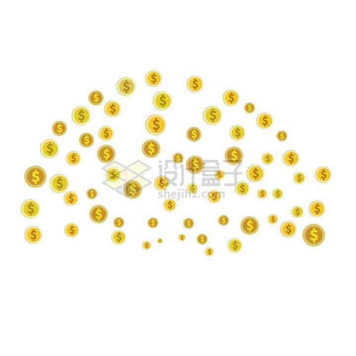 印有美元符号的金币雨png图片素材