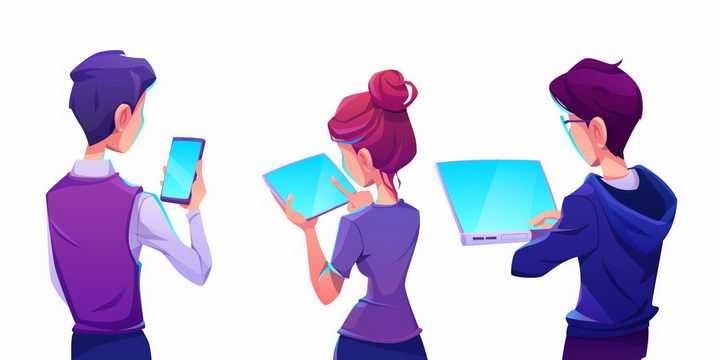 三个卡通年轻人正在查看手机平板电脑和笔记本电脑png图片免抠矢量素材