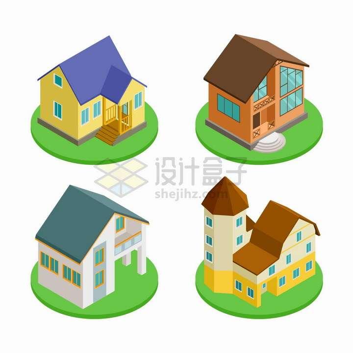 4款绿色圆盘上的别墅建筑png图片免抠矢量素材