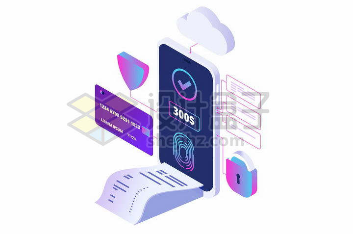 2.5D风格手机指纹识别消费清单银行卡信用卡支付安全png图片免抠矢量素材