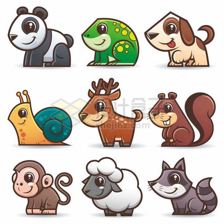 熊猫青蛙小狗蜗牛小鹿松鼠猴子绵羊小浣熊等可爱卡通动物png图片免抠素材