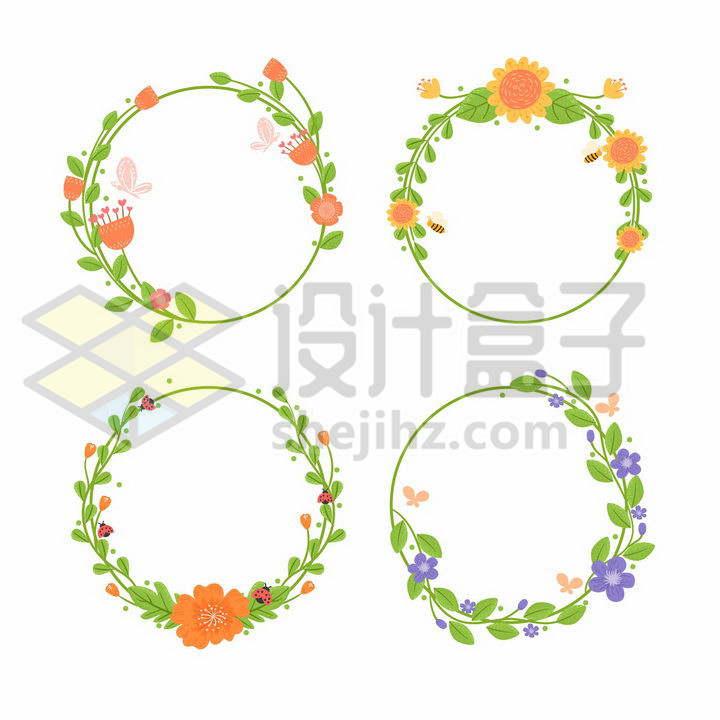 4款简约风格橙色小花紫色小花装饰的花环png图片免抠矢量素材