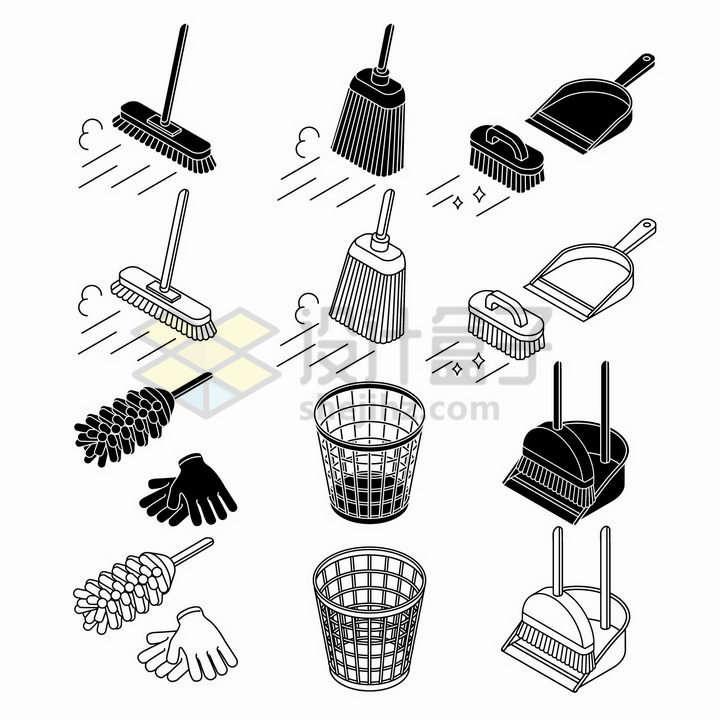 黑色线条拖把扫帚畚箕字纸篓垃圾桶手套等家庭卫生清洁工具png图片免抠矢量素材