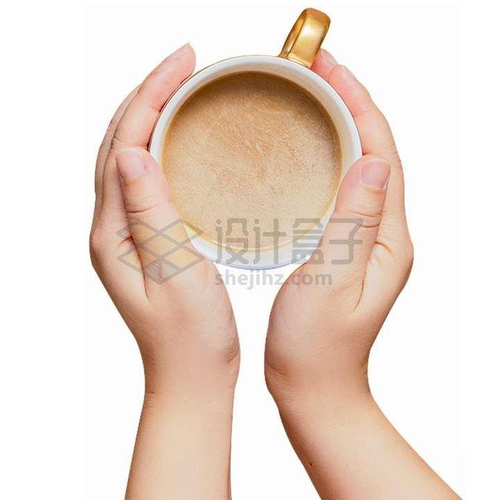 双手捧着的牛奶咖啡png图片免抠素材